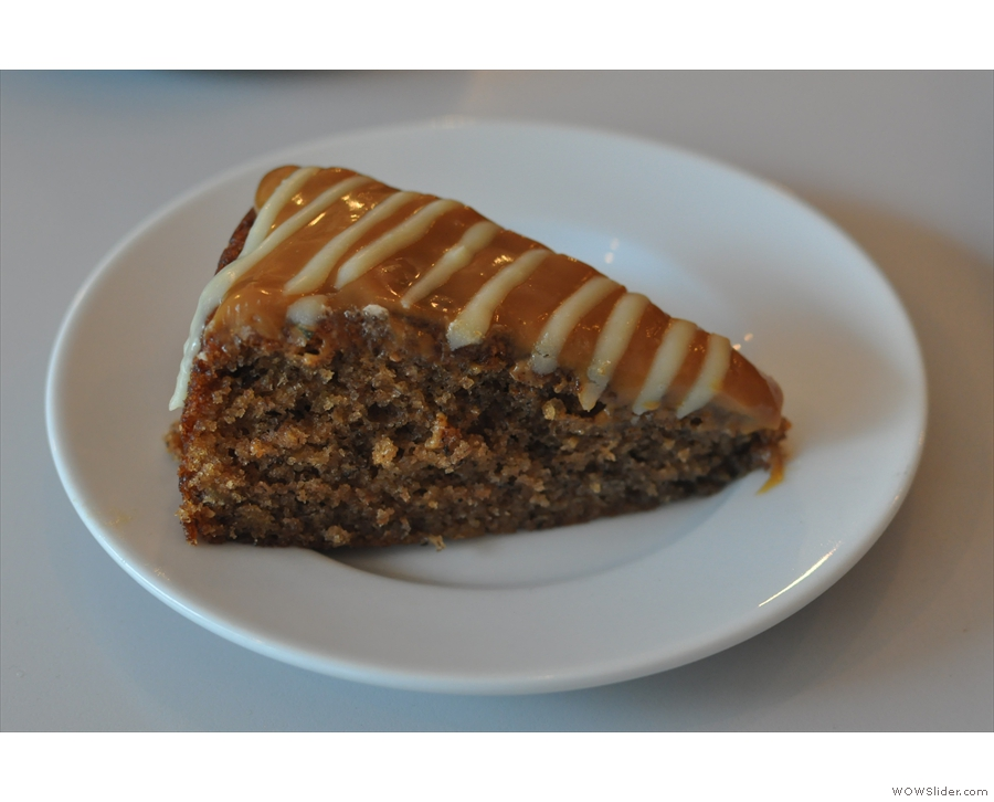 And to accompany it, a slice of banana cake with butterscotch icing.