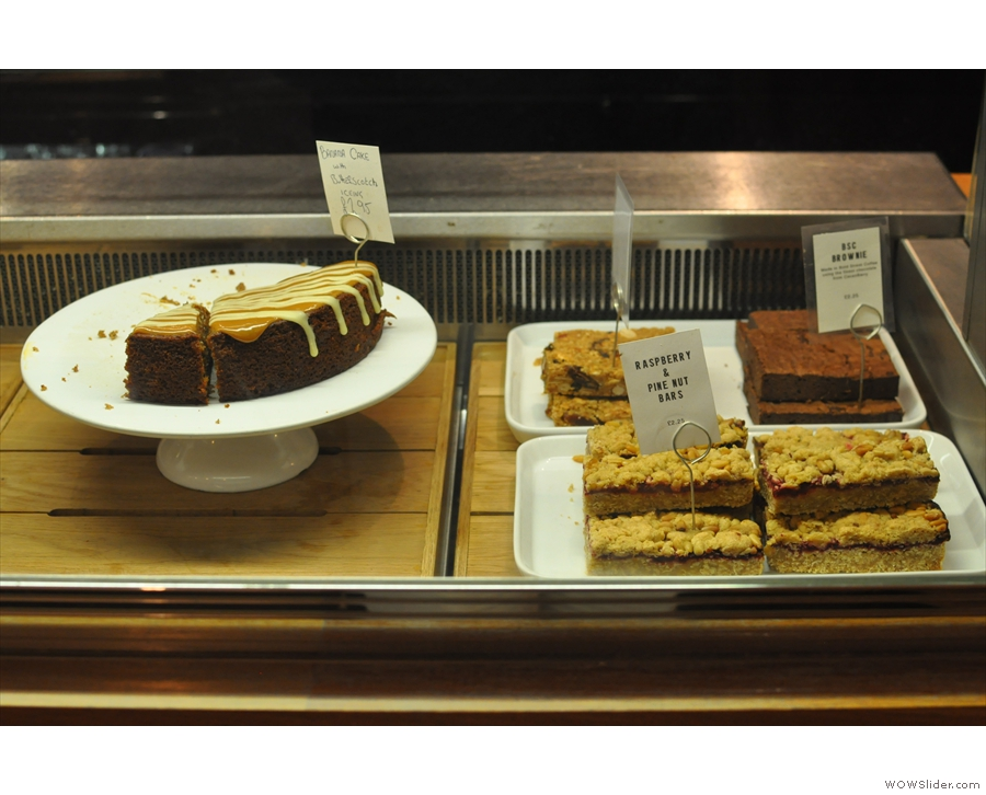 To the right is a small selection of the cake on offer.