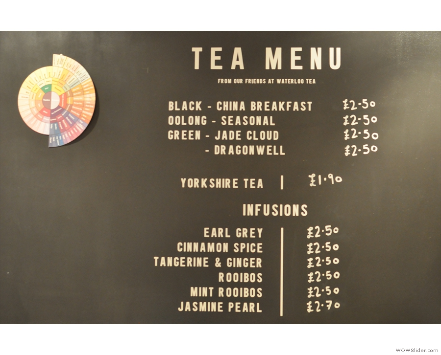 A fine selection of tea, but not what we want...