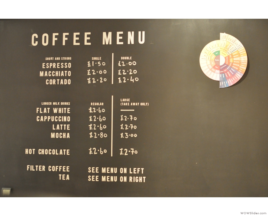 The coffee menu... Let's see... tea to the right, filter to the left...