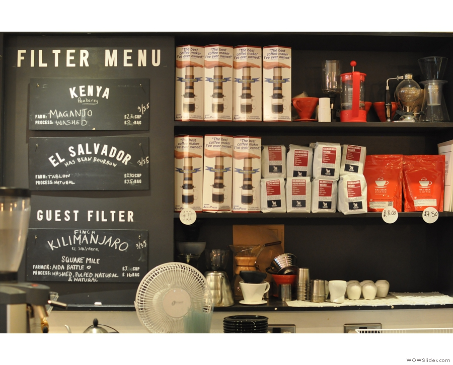 This is more like it: the filter menu, next to a selection of coffee-making equipment.