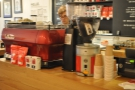 Down to business with a closer look at the counter and its bright red La Marzocco