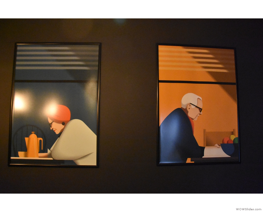 ... let's take a look at the new paintings on the back wall. There's more new art...