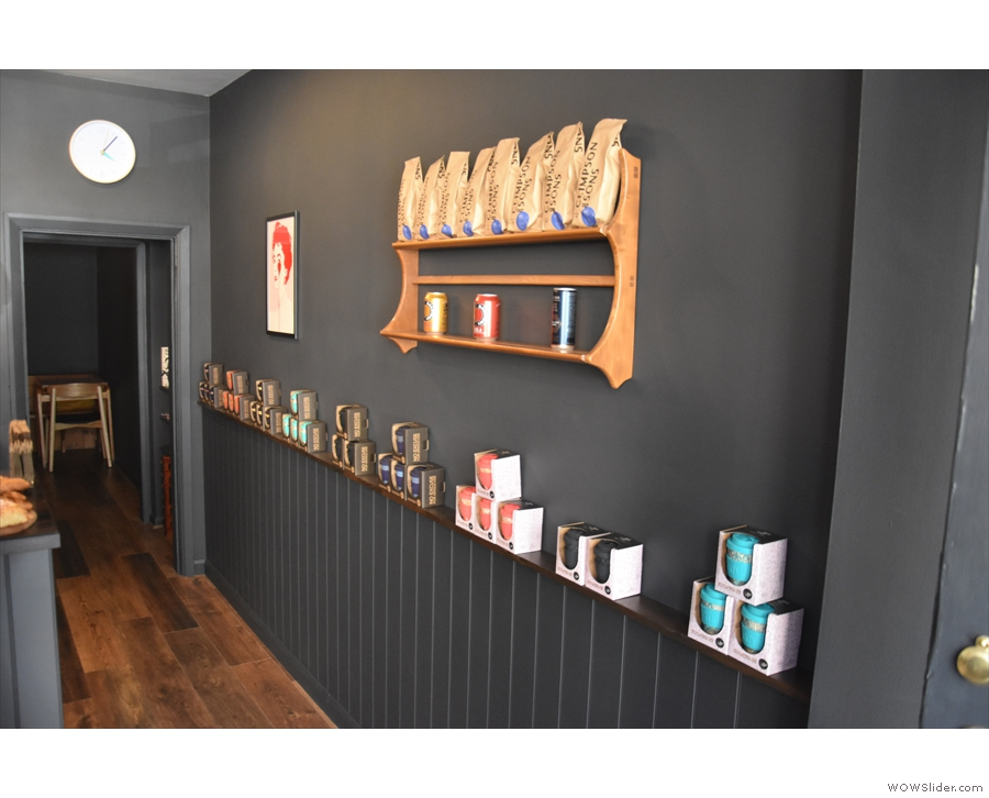 The rest is similar, with the retail shelf along the right-hand wall (seen here in 2019)...