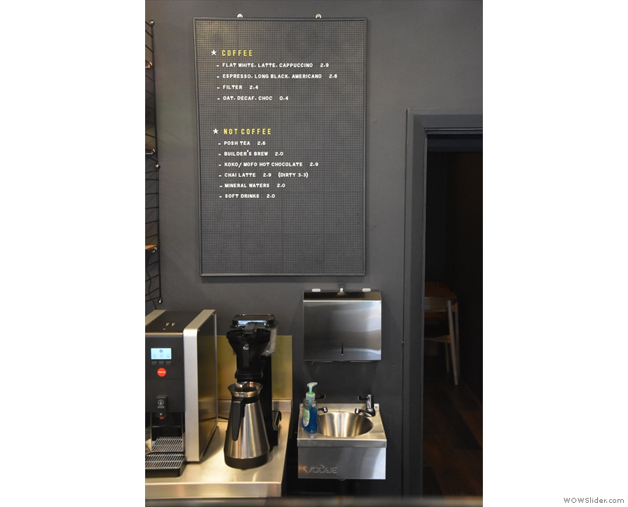 The menu, meanwhile, is on the back wall, above the Moccamaster batch brewer.