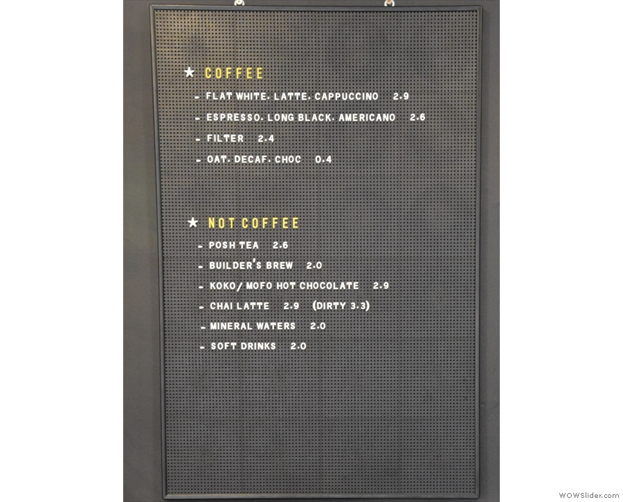 The concise menu is a joy to behold.