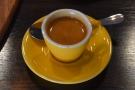 My epresso, Climpson and Sons' signature Estate espresso in a lovely, yellow cup.