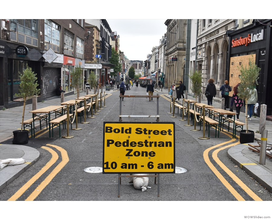 Staying in Liverpool, Bold Street has been temporarily pedestrianised, allowing...