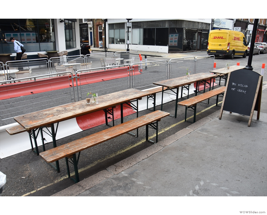 ... Great Titchfield Street is down from two lanes to one, alllowing Kaffeine more tables.