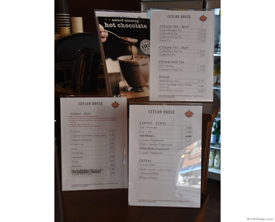... along with the menus: coffee, cold coffee, tea and Kokoa Collection hot chocolate.