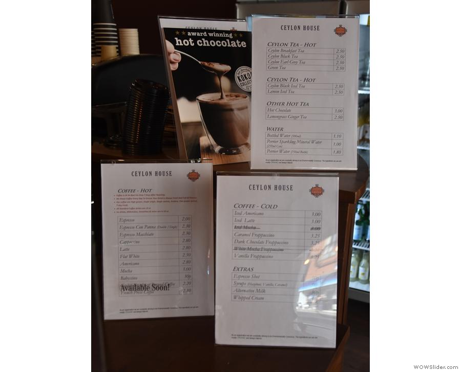 ... along with the menus: coffee, cold coffee, tea and Kokoa Collection hot chocolate.