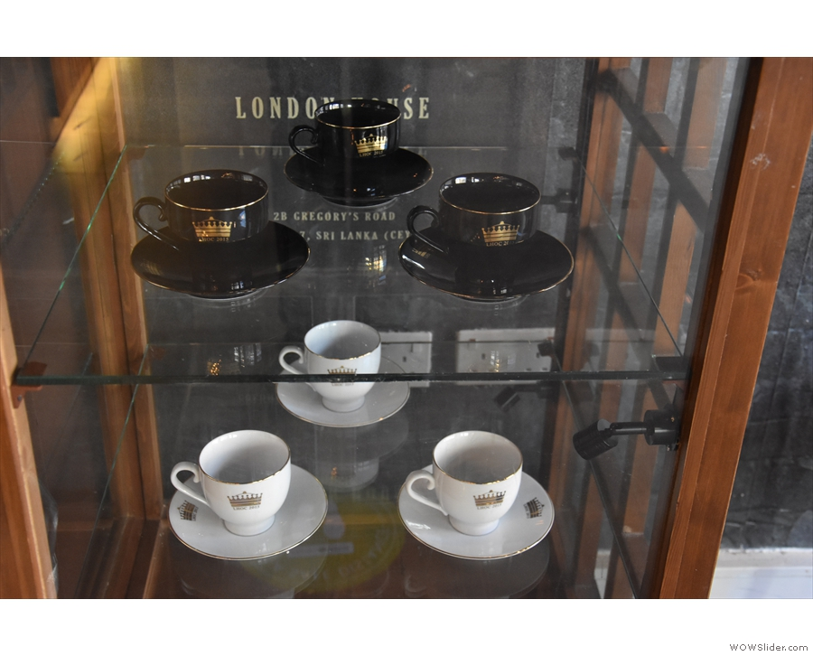 ... takeaway cups only, although there's a display case on the right with some lovely cups.