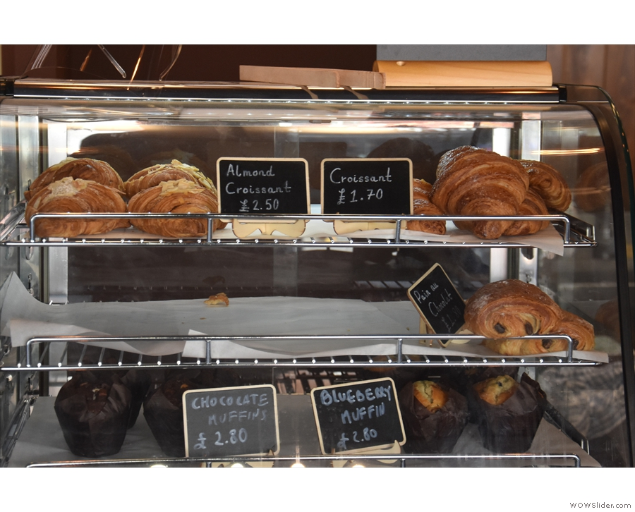 ... including the usual pastries and muffins. The till is on the right...