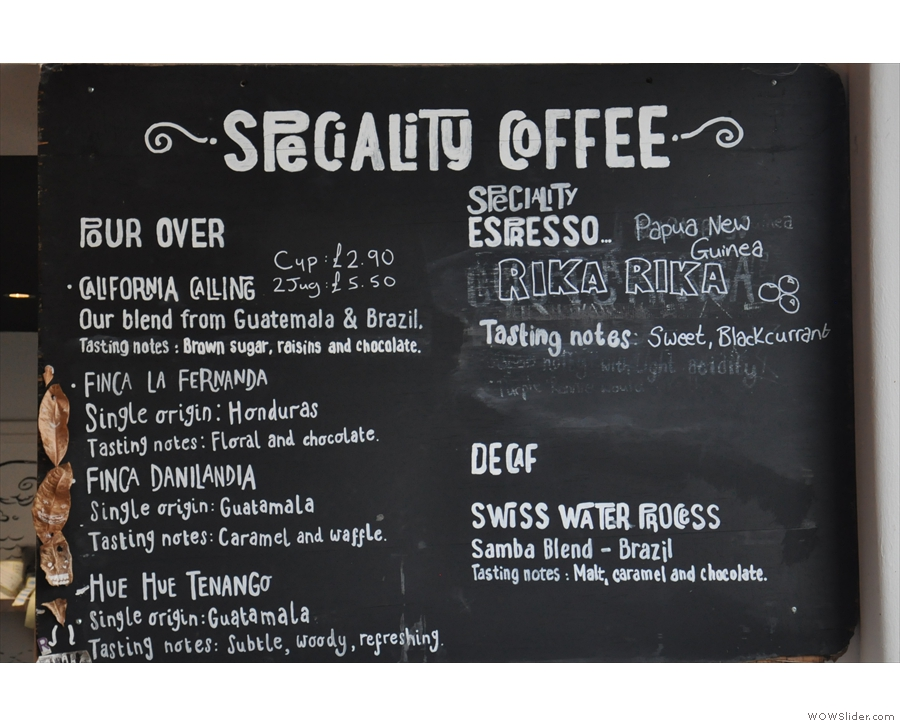 Pour-over & espresso beans are displayed on this chalkboard (upgraded since my visit)...