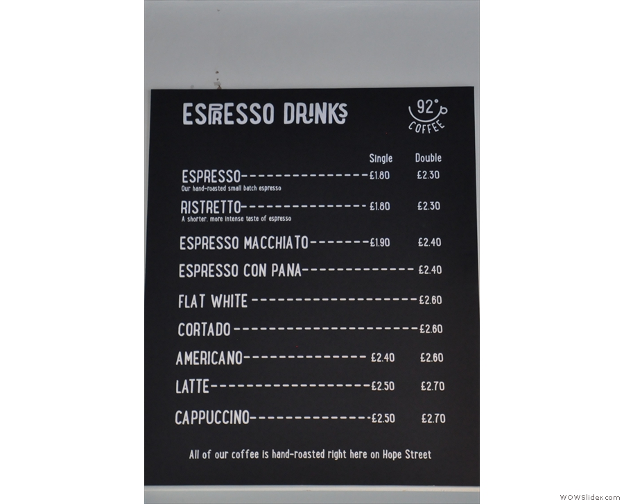 Meanwhile, the espresso menu has its own section.