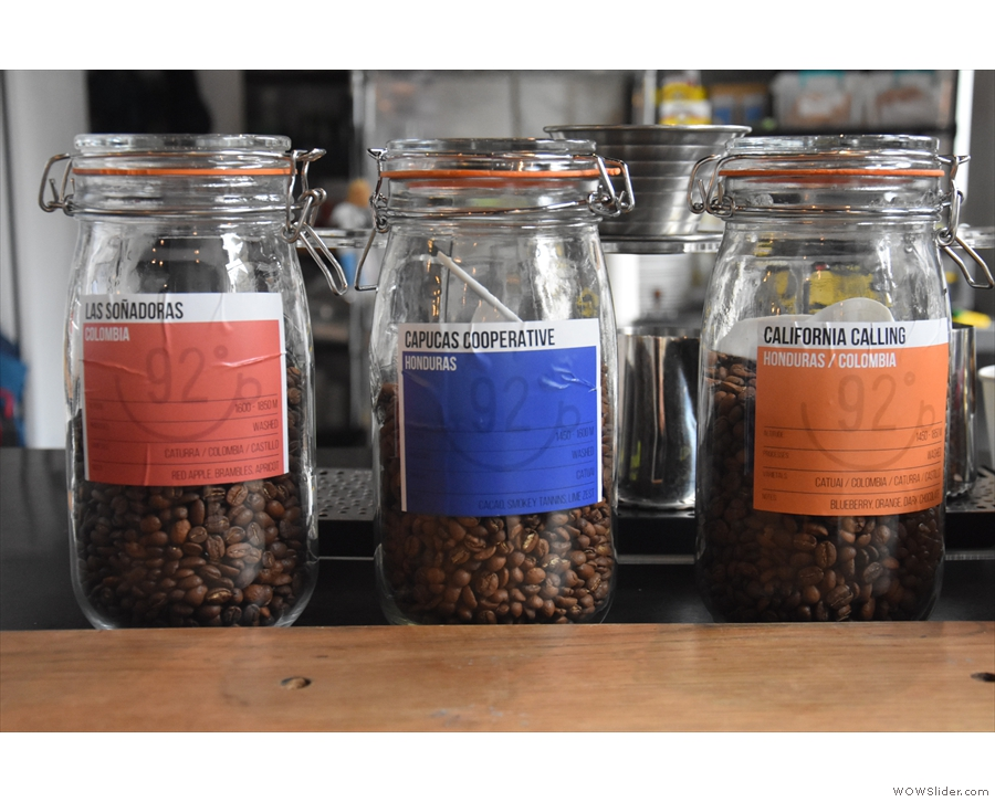 ... counter-top. The two on the left are single-origins, while the third is a blend...