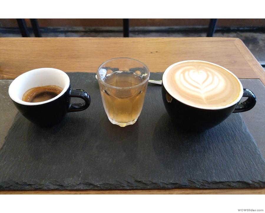 However, I did get to try the espresso tasting flight, a single-shot espresso/flat white...