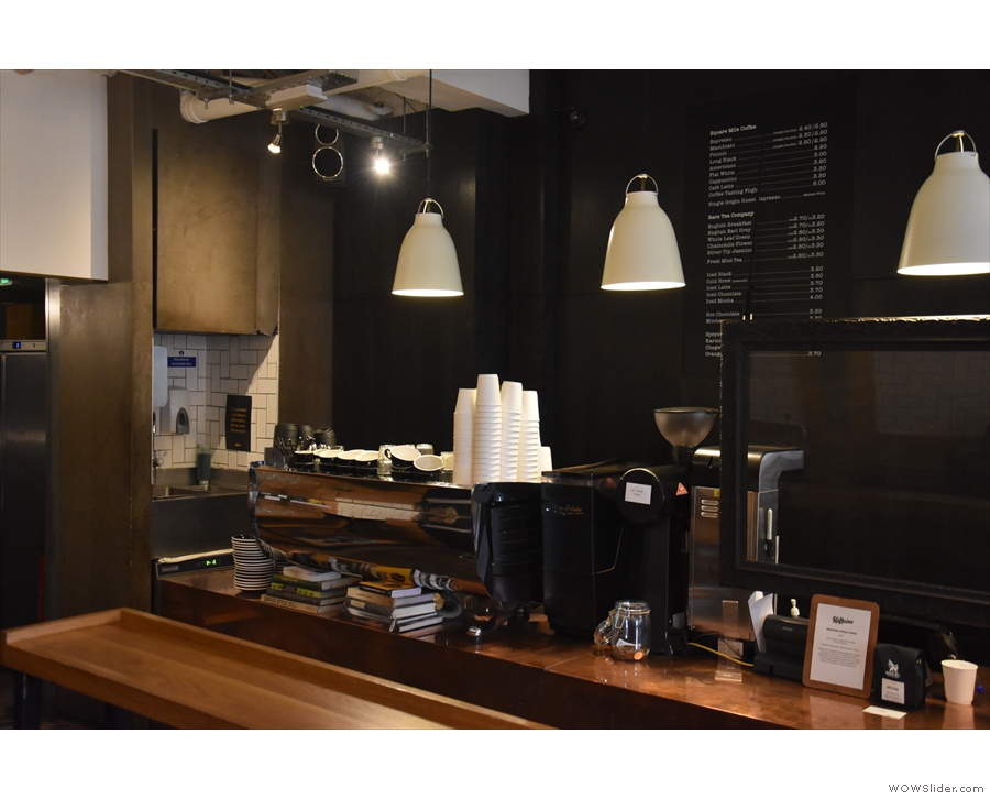 ... while the Black Eagle espresso machine is still at the far end. The till is in the middle...