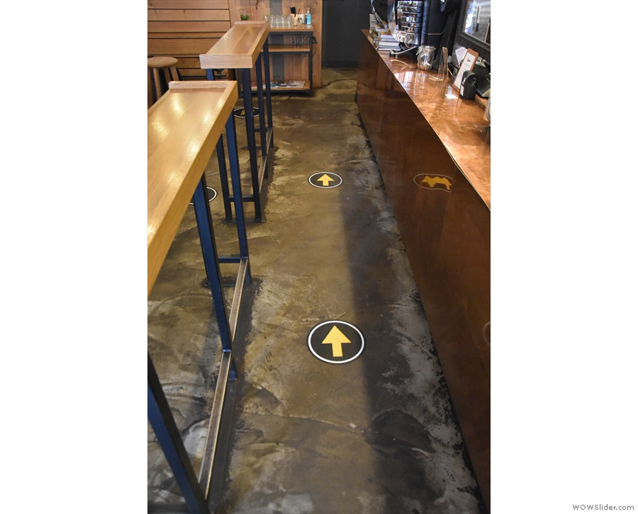 The one-way system leads down the front of the counter...