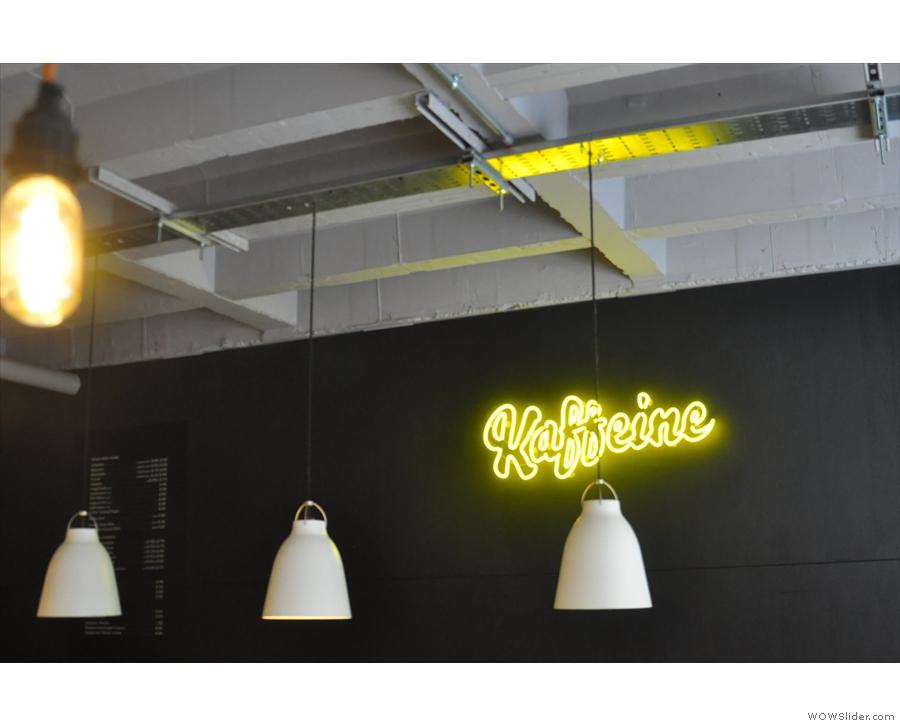 More good news: the yellow neon Kaffeine logo, seen here in 2016...