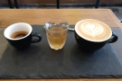 However, I did get to try the espresso tasting flight, a single-shot espresso/flat white...