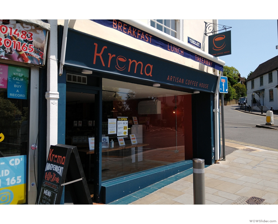 ... followed, the next month, by Krema Coffee, both in my hometown of Guildford.