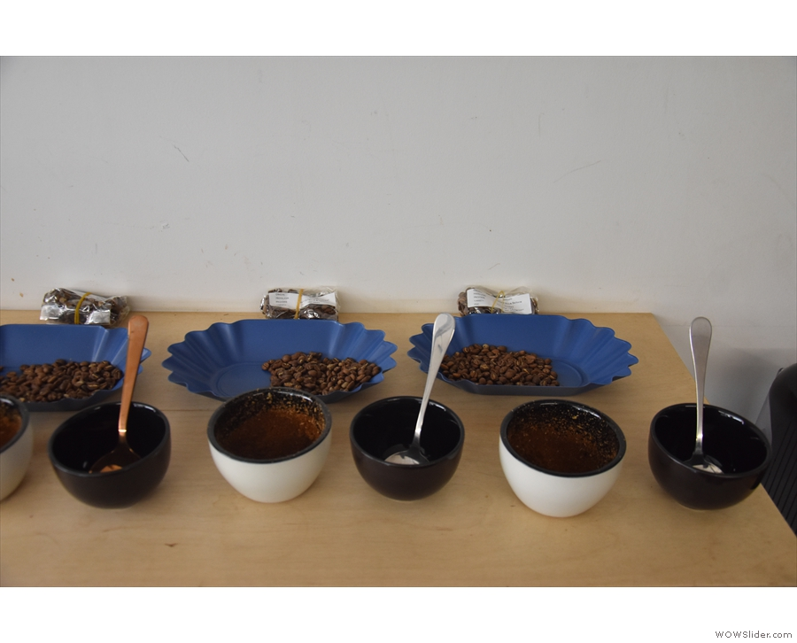 While I was there, one of the regular (internal) cuppings was being prepared...