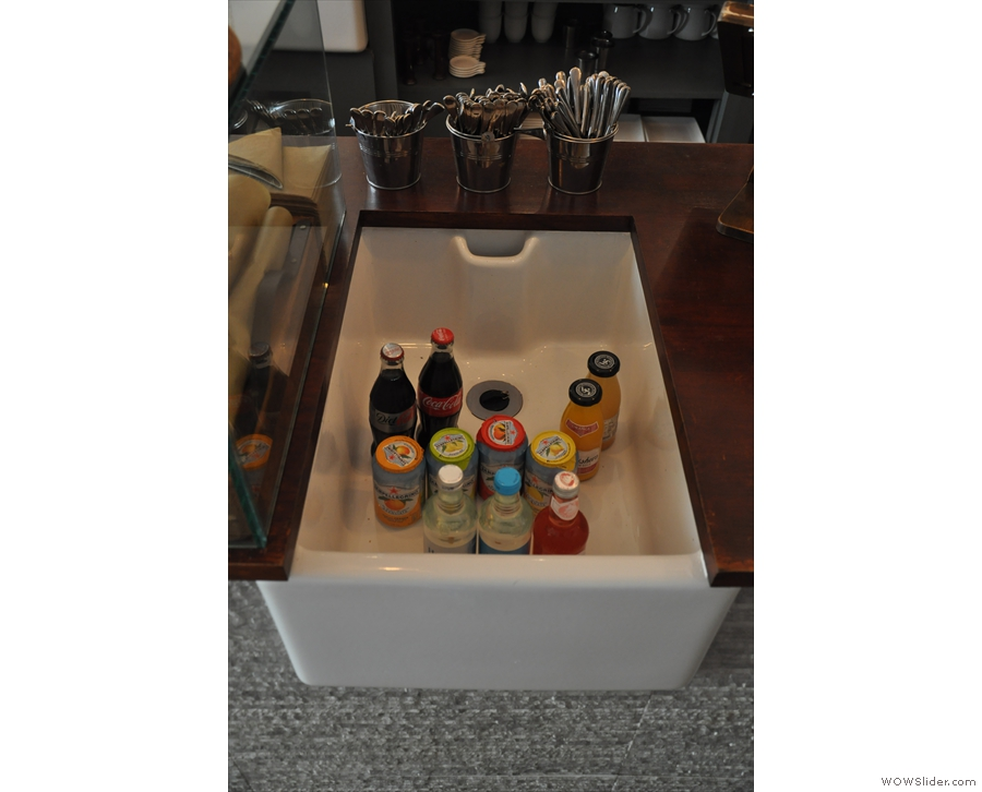 ... and soft drinks kept in an old sink.