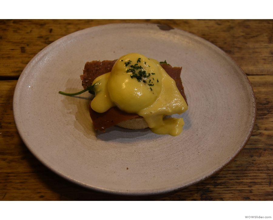 ... and the Eggs Benedict with vegan bacon, which came on its own...