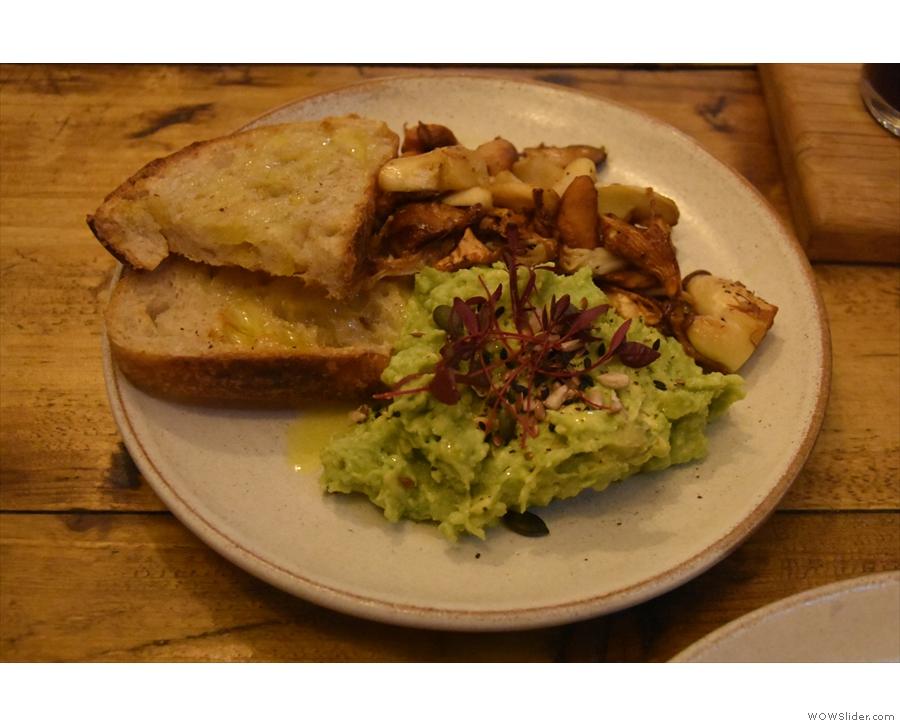 ... extra toast, smashed avocado and mushrooms.