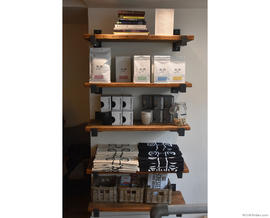 The retail shelves are to the right as you reach the bottom of the ramp. You can buy...