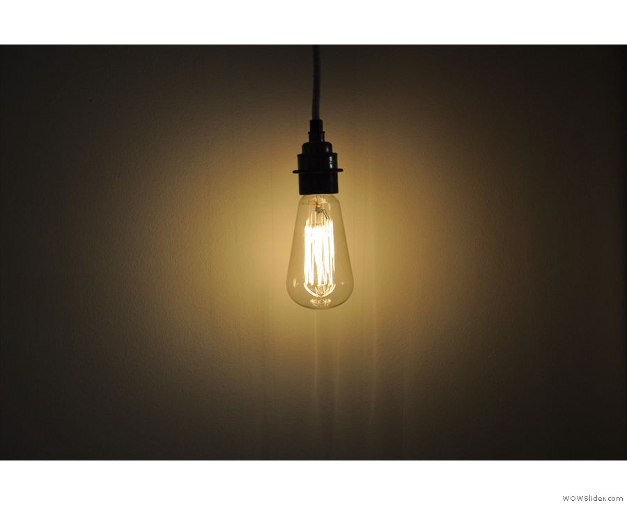Some of the light bulbs hang free, but in solitude...