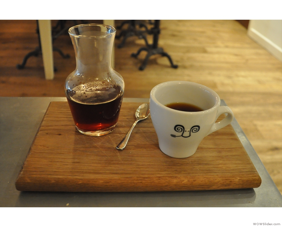 ... followed with a pour-over, beautifully presented in a carafe. Cool cup, by the way.