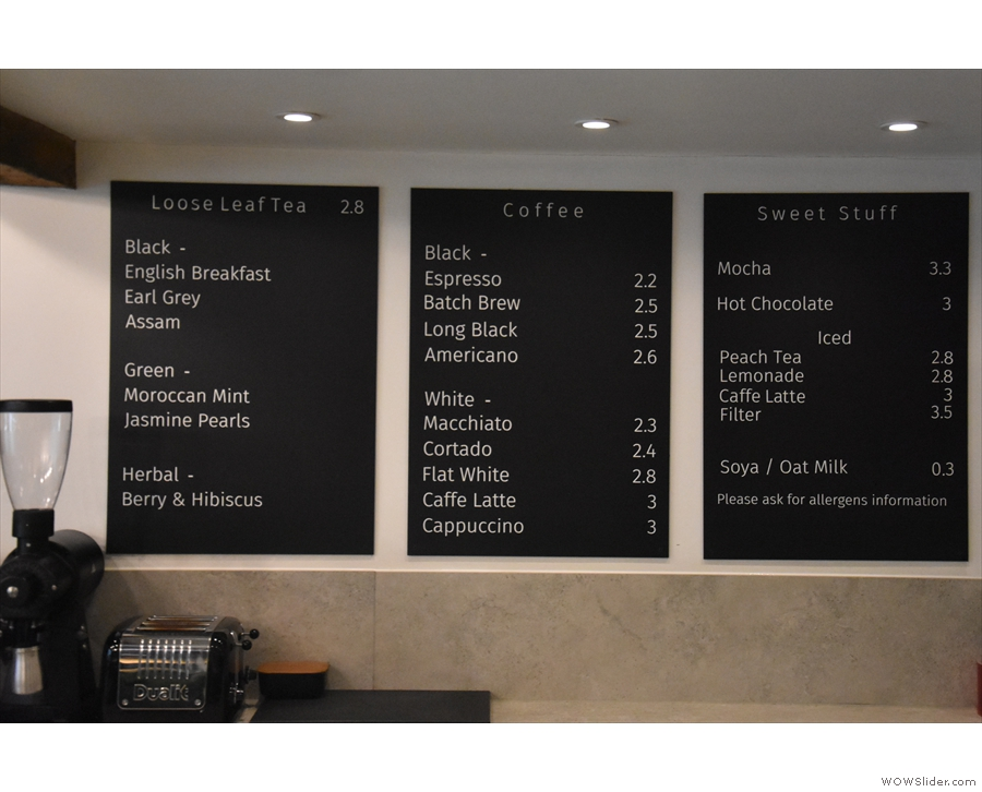 ... although these are the current menus. Not that there's much difference.