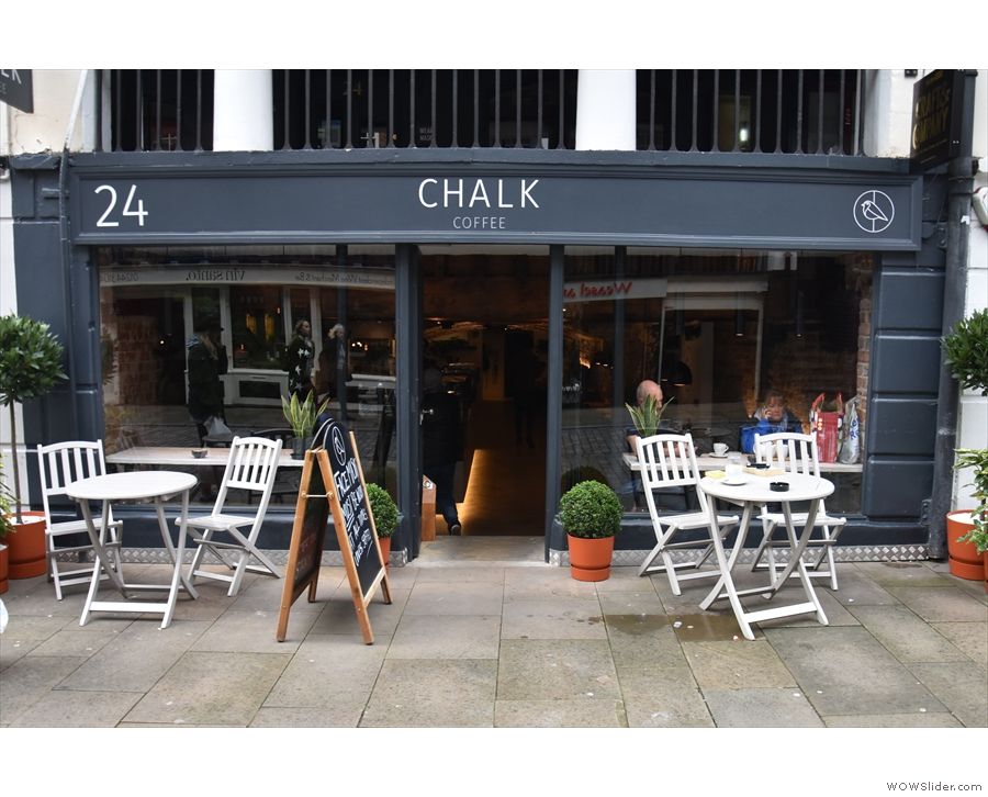 Chalk Coffee, on Watergate Street, looking remarkably similar to how it did on my visit...