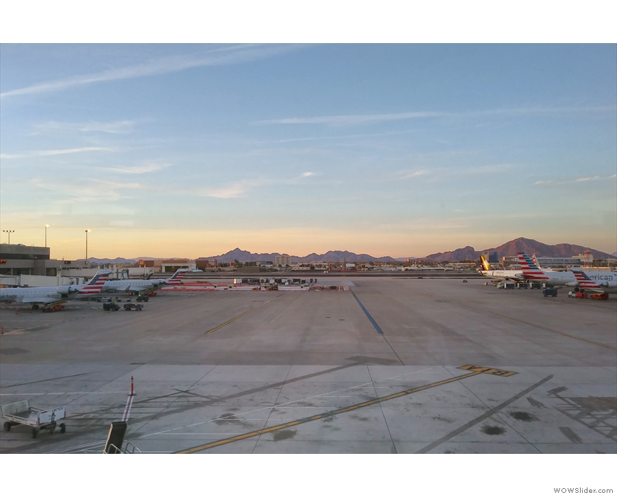 I love this view of the mountains from the walkways between the gates.