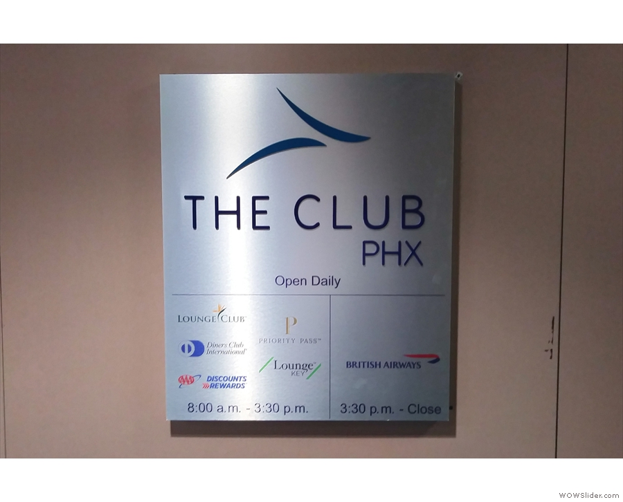 The lounge at Phoenix, which British Airways customers have to themselves in the evening.