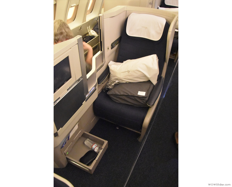 This is my seat, 61J, a standard Club World aisle seat.