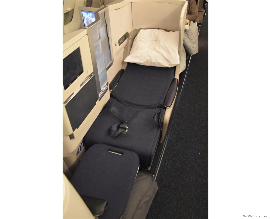 ... I was actually able to get a decent shot of my seat once it was converted into a bed.