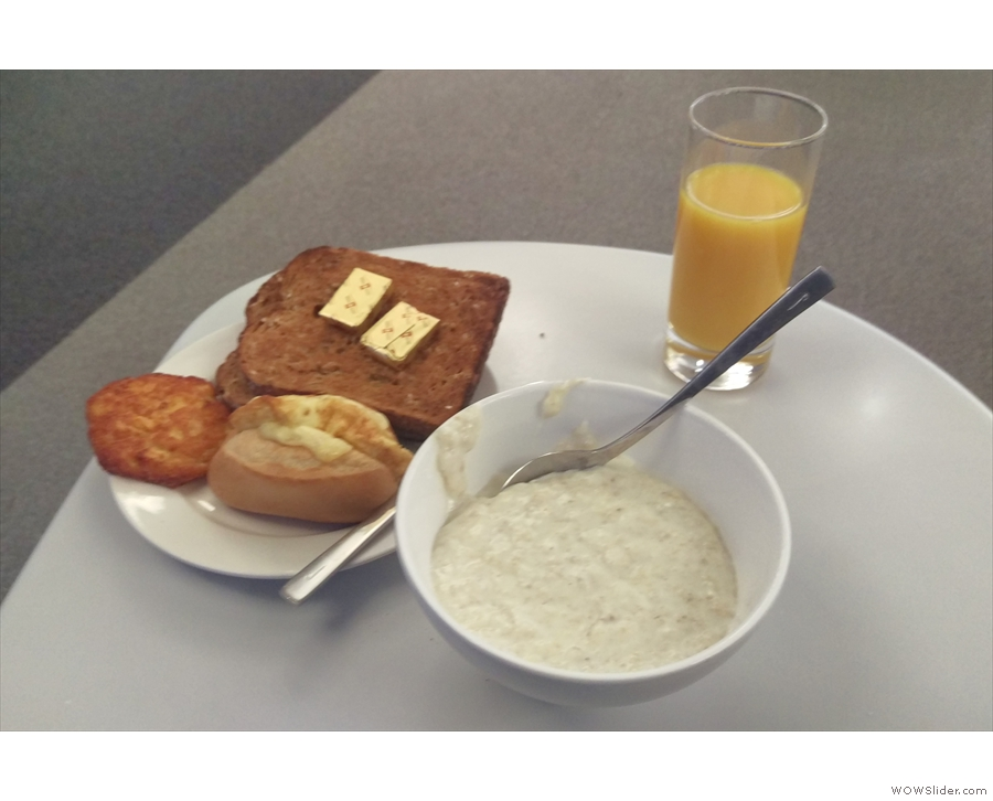 Breakfast at the lounge at Terminal 5. The porridge was excellent!