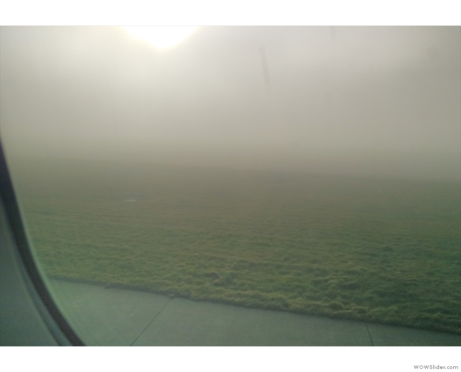 ... and then spent 25 minutes taxiing/queue around a very foggy Heathrow.