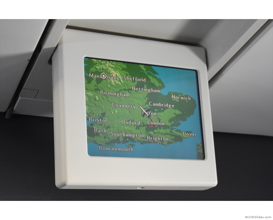 There's a fold-down monitor which shows a map of our route.
