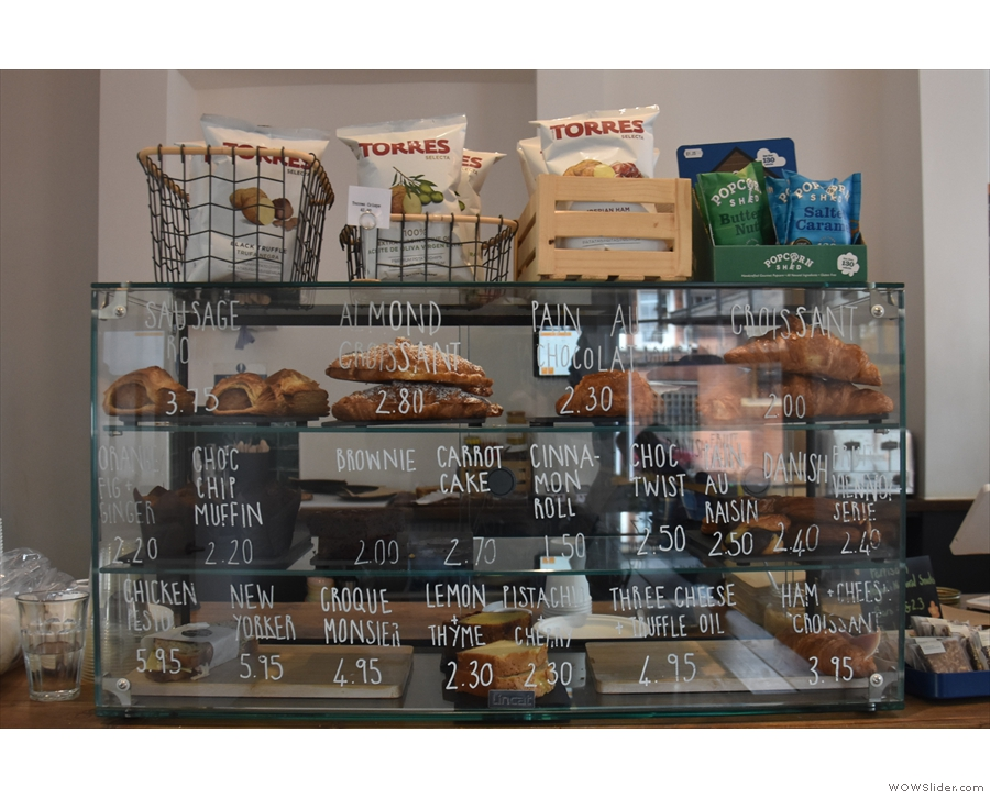 The pastries and toasties are, meanwhile, displayed on the counter to the left of the till.
