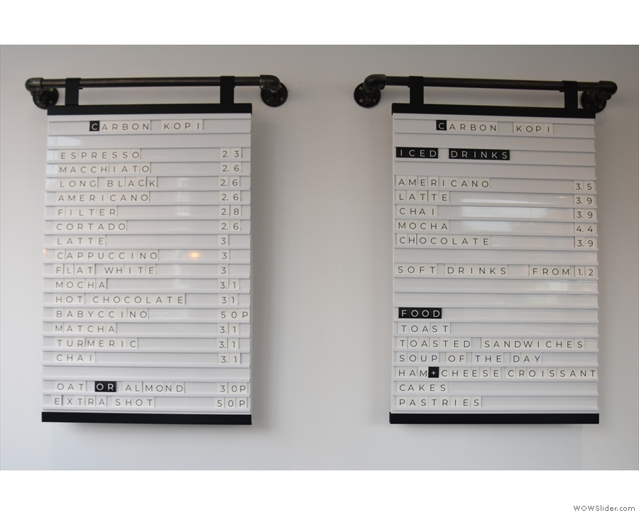 ... but the menus are on the wall to the left, directly ahead of you as you enter.