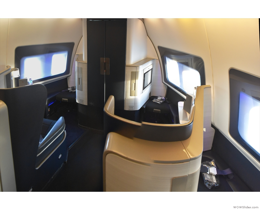 These two seats (1A and 1K) are right at the front, at the very tip of the nose.