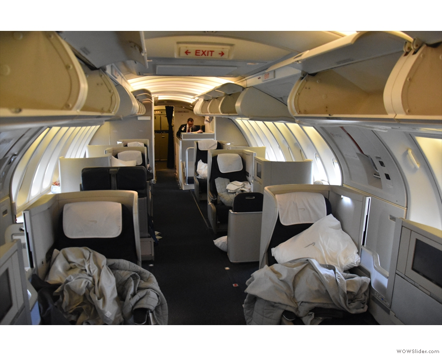 ... in the cosy upper deck (seen here at the end of the flight).