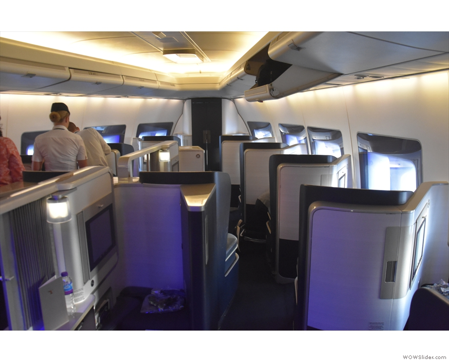 I was sitting in the nose cone, thanks to an unexpected upgrade to First Class!