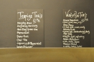 Coffee and tea menu.