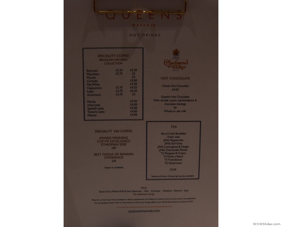 Talking of which, there's full table service, so you'll get your own drinks menu...