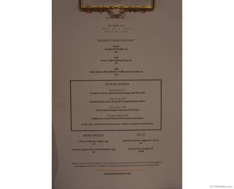 ... while there are seperate food menus too. This is the evening nibbles menu.